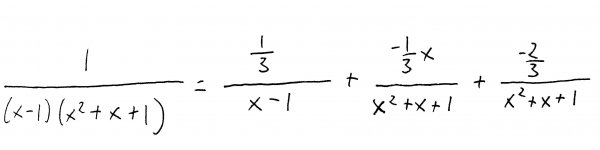Partial fraction expansion using coefficients we have determined.